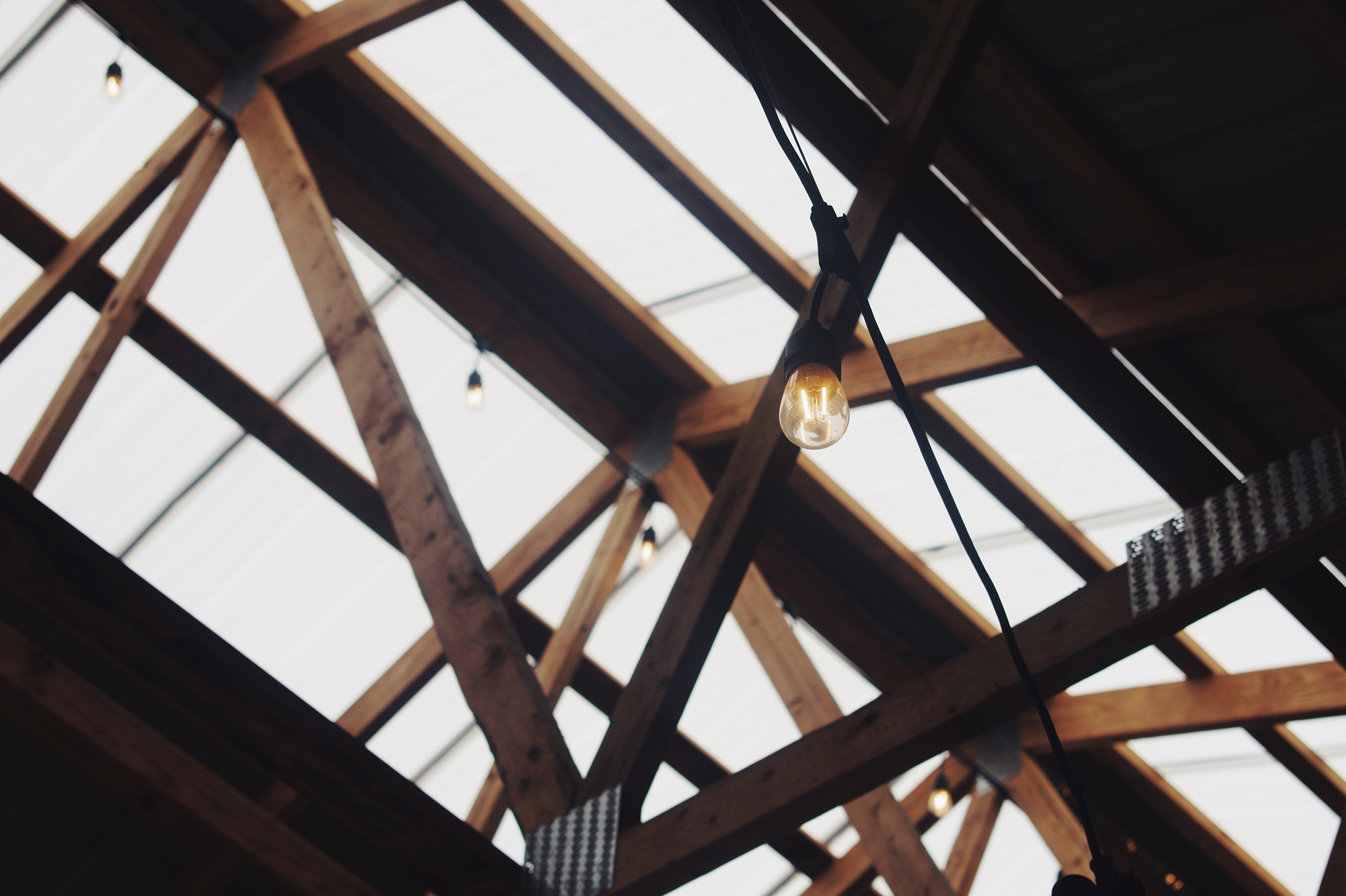Pine beam roof struts with pitched glass roof