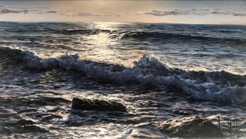 Alfredo Navarro Indigo Waves Original Painting