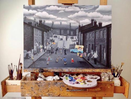 Leigh Lambert Painting on easel