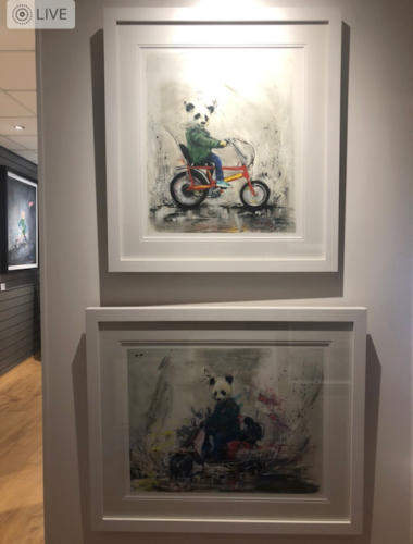 Wild Seeley Panda chopper and Panda scooter limited edition prints framed