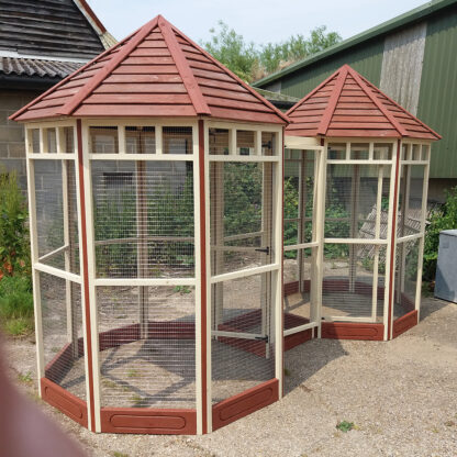 Double Octagonal Aviary in Brown & Cream