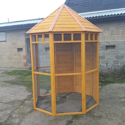 Octagonal Aviary with Boarded Back in Golden Chestnut