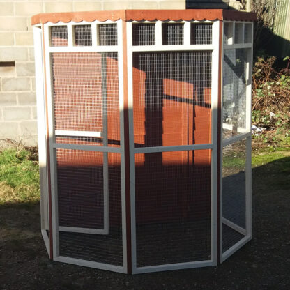 Flat Back Aviary (boarded back) in Brown & Cream