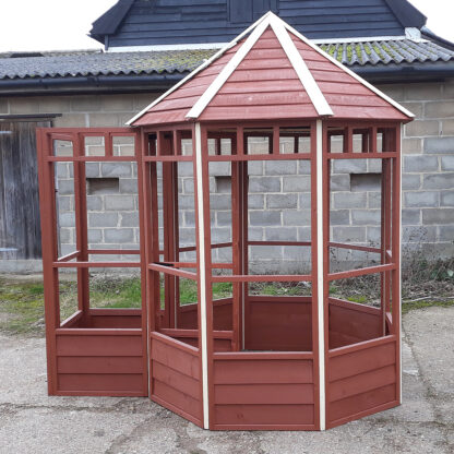 Octagonal Aviary - Third Panel with Safety Porch, Brown & Cream