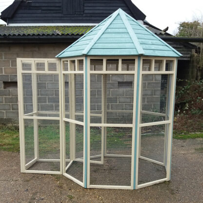 Octagonal Aviary with Safety Porch in Blue & Cream.