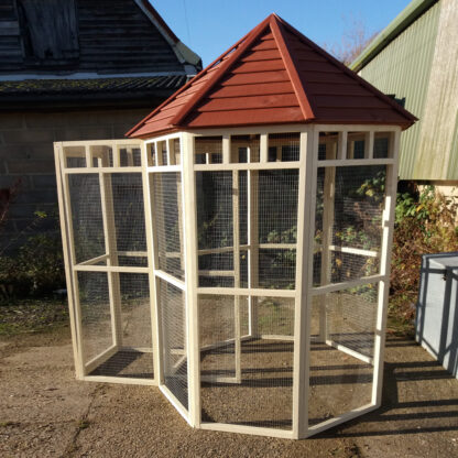 Octagonal Aviary with Safety Porch in Brown & Cream.
