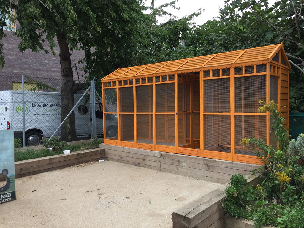 Done! Vauxhall City Farm's brand new Aviary, supplied and fitted by Brownies Bespoke Aviaries.