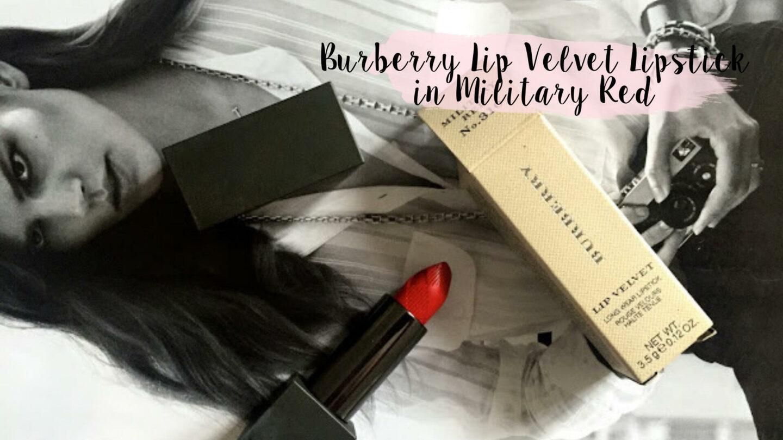 Burberry Lip Velvet Lipstick in Military Red    Beauty