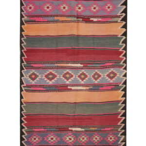 Rugs For Sale UK Vintage Azerbaijan Kilim Rug With Rustic Sripe Pattern, For Sale. Excellent Vintage and Antique Rugs Available.