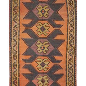 Vintage Persian Kilim Rug, Orange Tribal Rugs For Sale UK