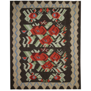 Vintage Moldovan Kilim Rug, Handmade floral Wool Rug For sale UK