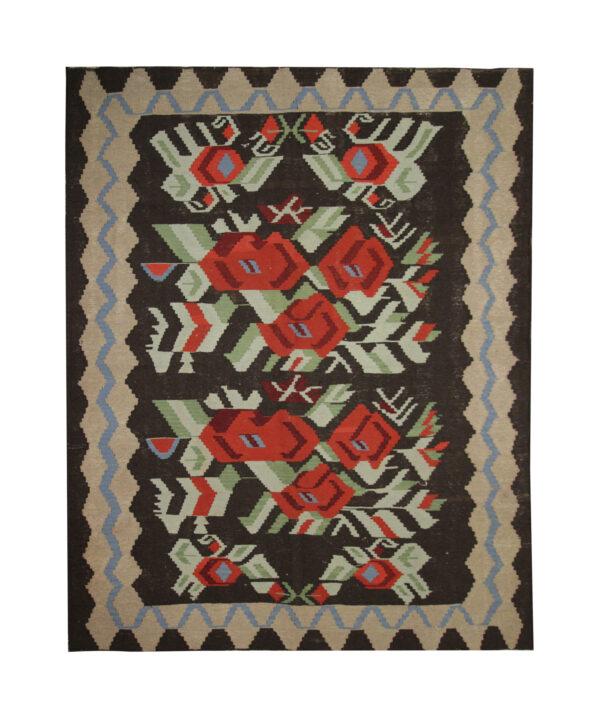 Vintage Moldovan Kilim Rug, Handmade floral Wool Rug For sale UK