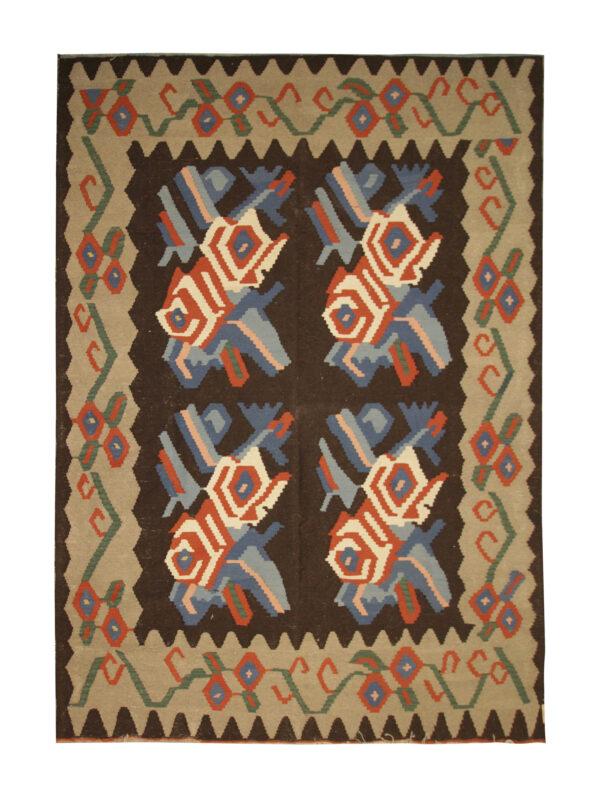 Handmade Floral Moldovan Rug, Oriental Wool Carpet Vintage Rugs For Sale