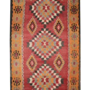 Vintage Persian Rug, Orange Red Wool Persian Kilim For Sale