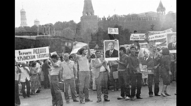 1987 SSCB Kızıl Meydan Kırım Tatarlarının gösterisi