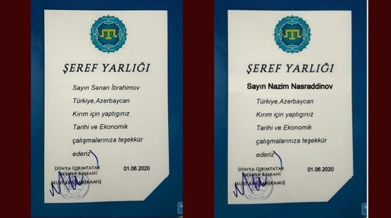 Azerbaycandan Nazim Nəsrəddinov ve Sənan İbrahimov'a Şeref Yarlığı