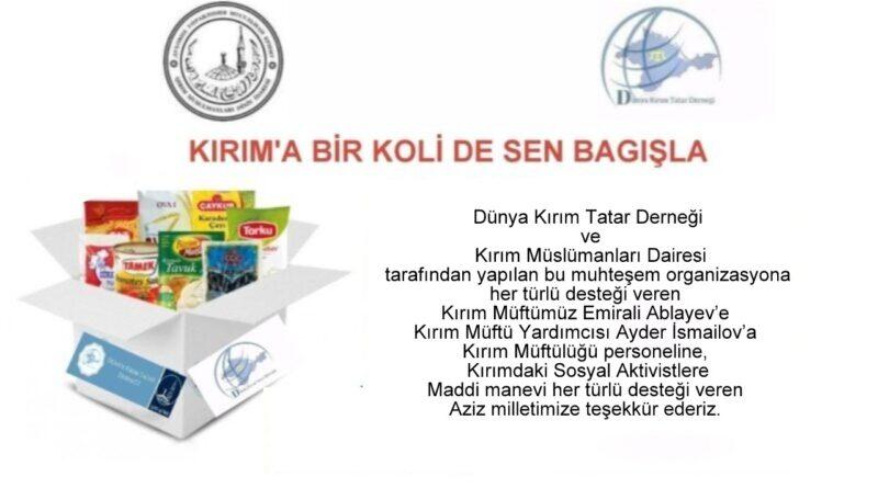 Kırım'a bir koli'de sen bağışla Organizasyonuna katkı sağlayanlara teşekkür