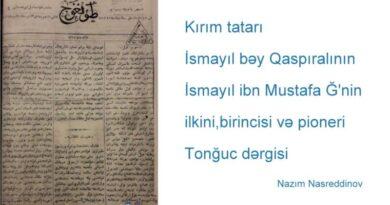"""İsmayıl bəy Qaspıralının - İsmayıl ibn Mustafanın """"Tonğuc"""" məcmuəsi"""