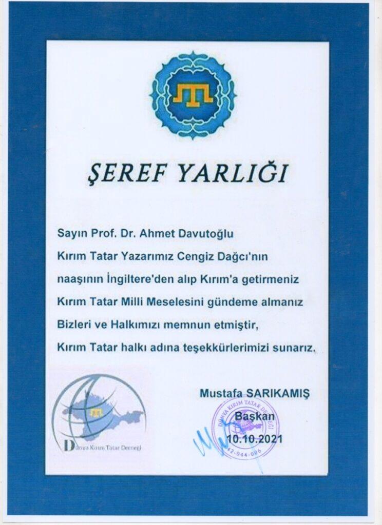 şeref yarlığı _ Ahmet Davutoğlu