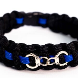 Paracord Wristband – Blue Line With Handcuffs