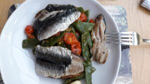 Pan fried mackerel on a bed of panzanella made from A Table for Friends
