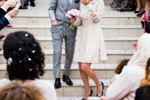 Newly weds being showered in confetti  | Public service interpreting English to Spanish and Spanish to English