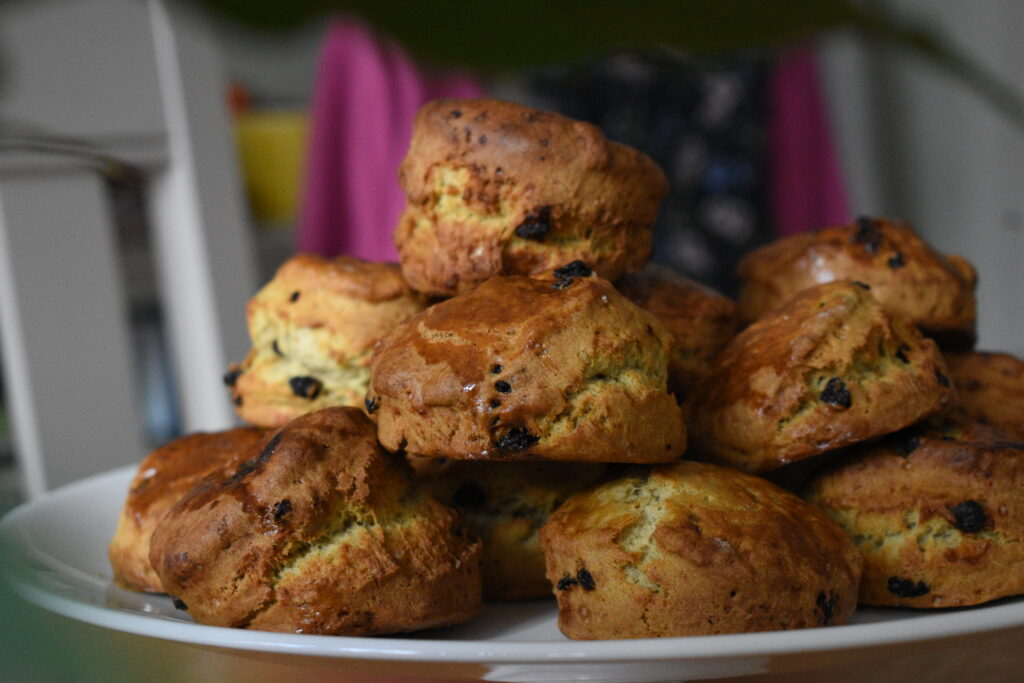 Tray of sultana scones made with baking soda
