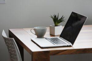 Laptop on a desk | studying SEO for translators