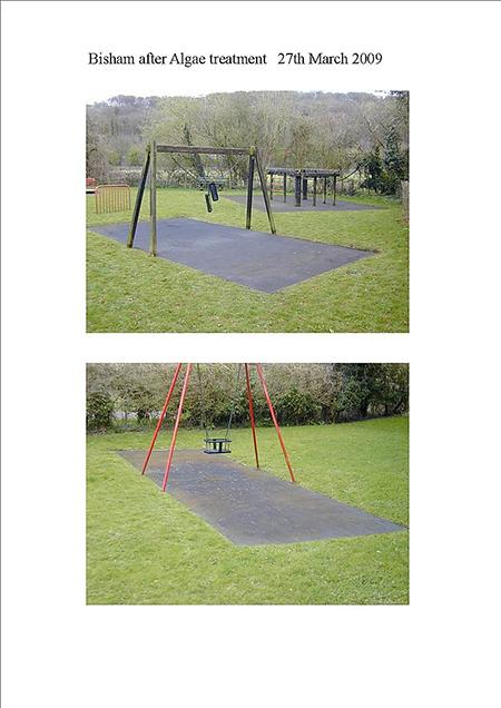 Algae treatment on play surface