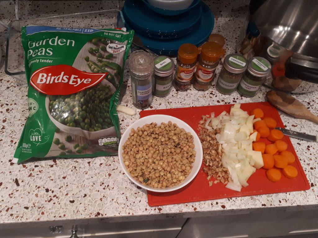 Vegan cottage pie ingredients