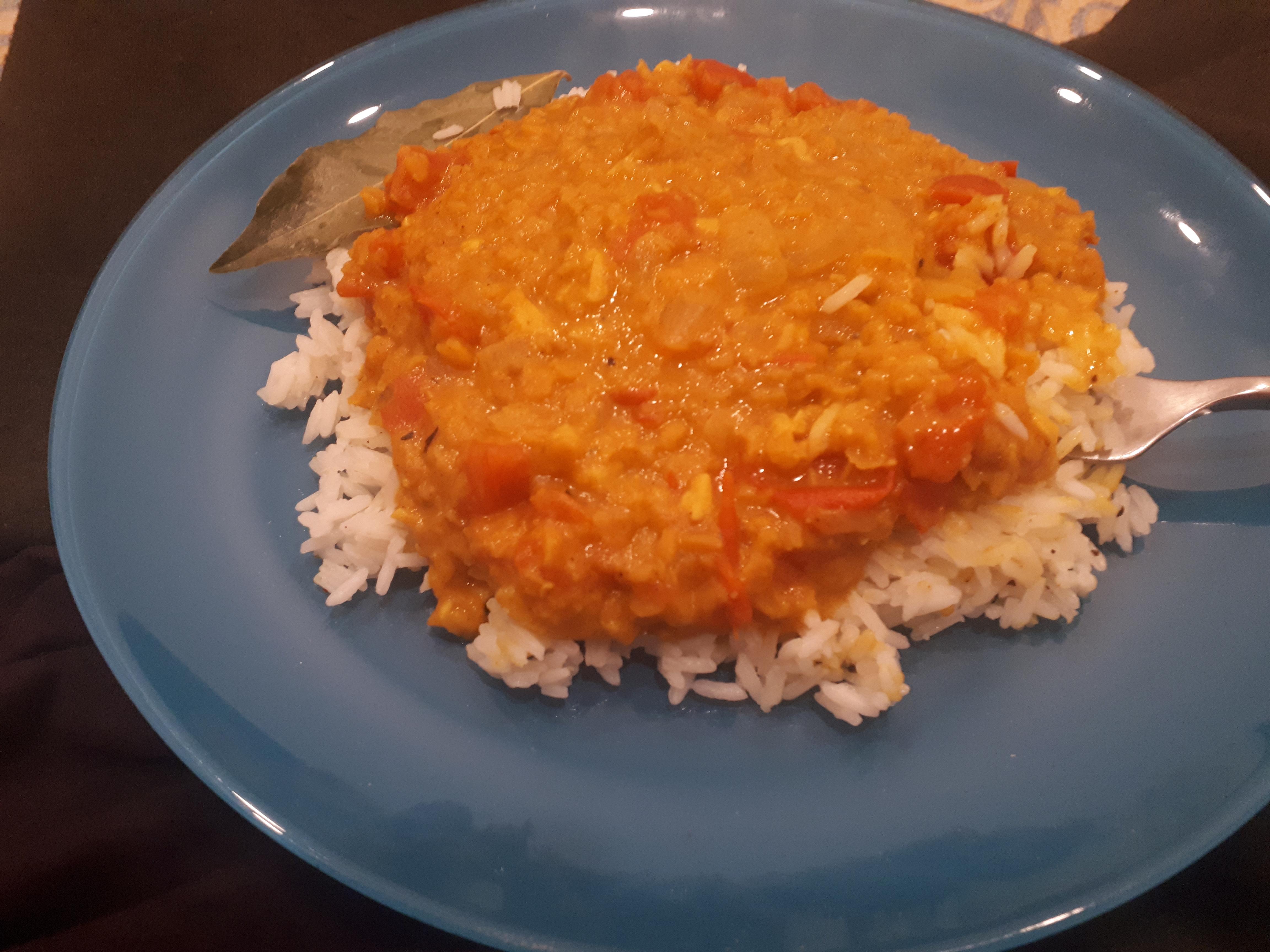 Red lentil dahl meal