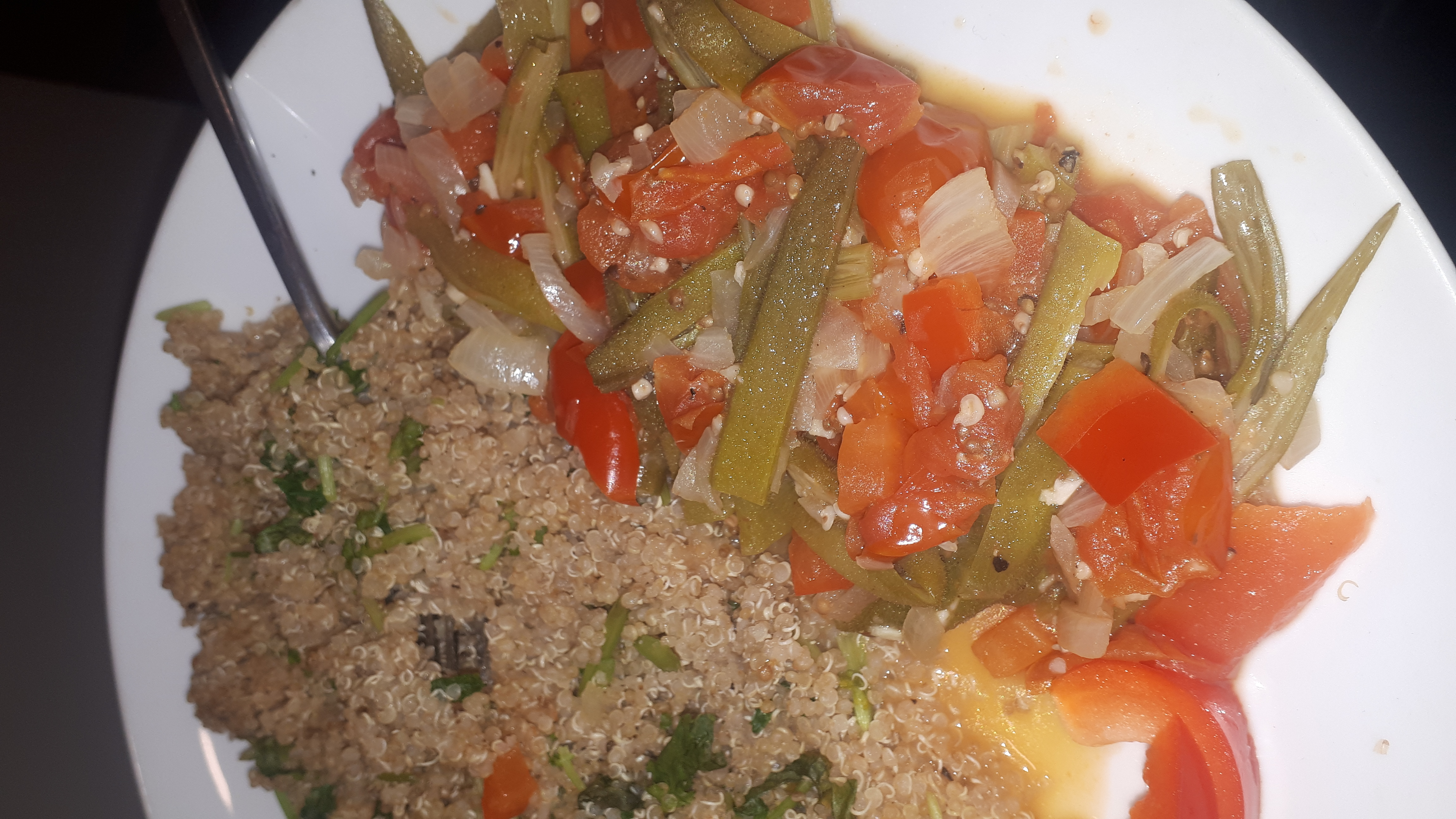 veganised bamia (okra) stew