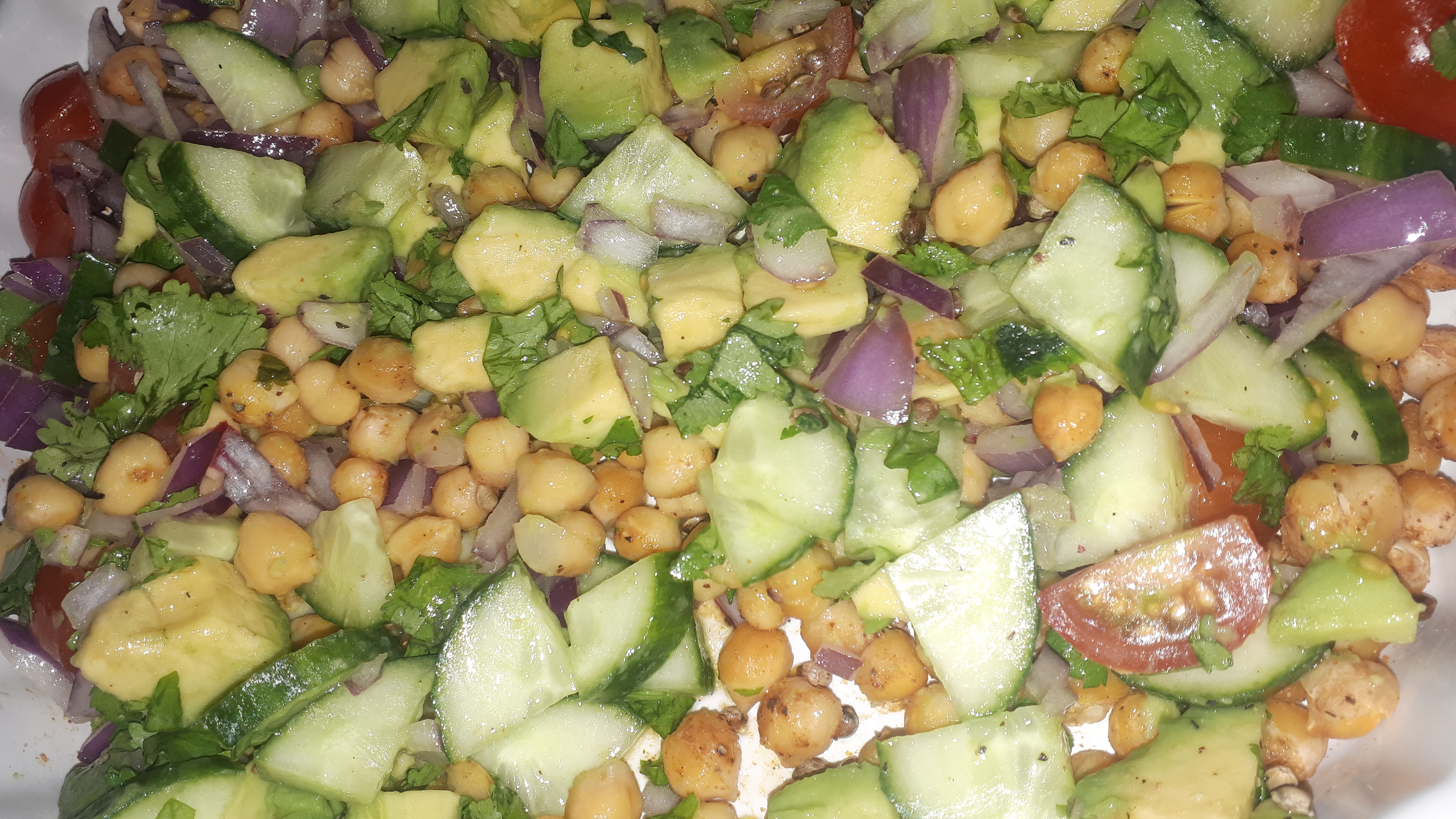 roast chickpea avocado salad