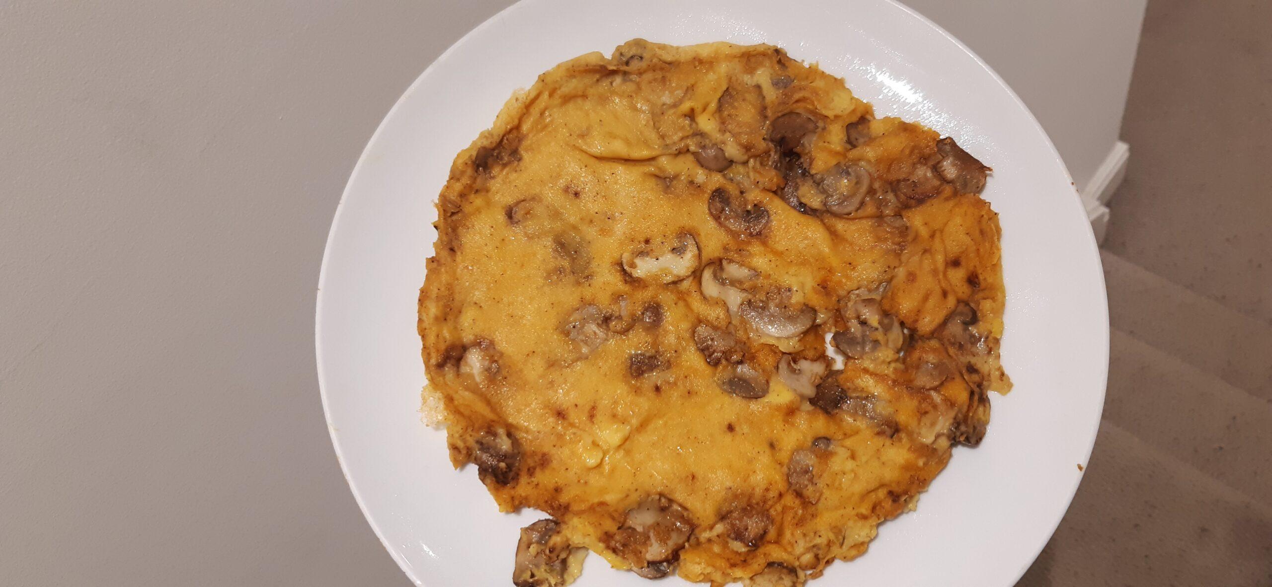 Veganised mushroom omelette