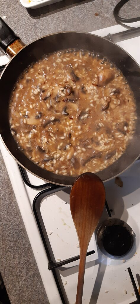 vegan mushroom risotto in the pan