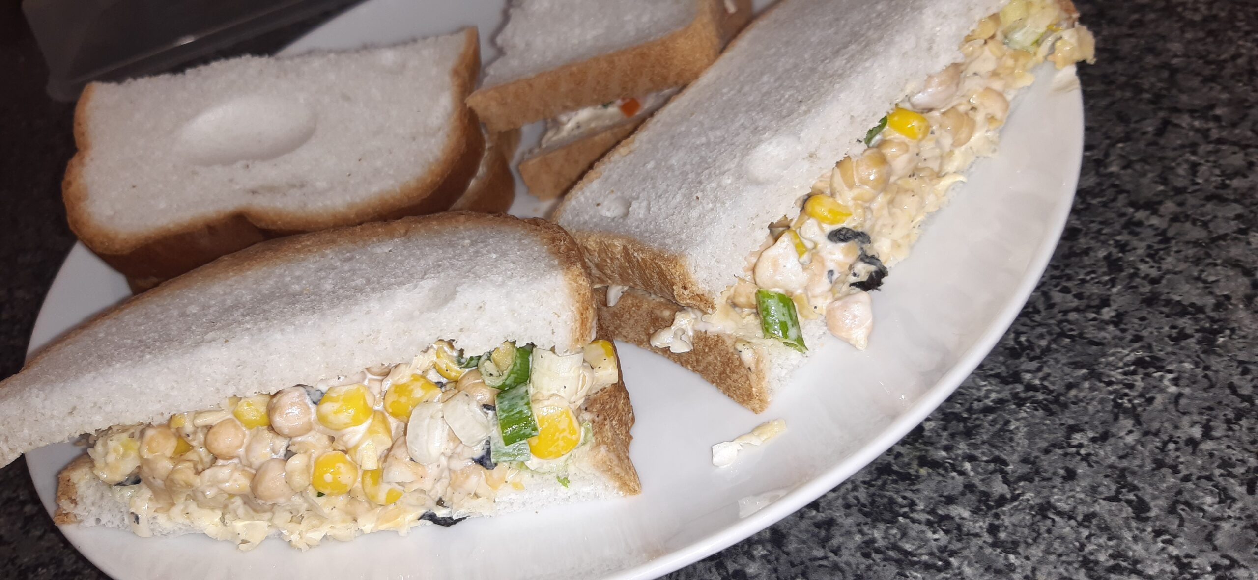 vegan tuna sweetcorn sandwiches