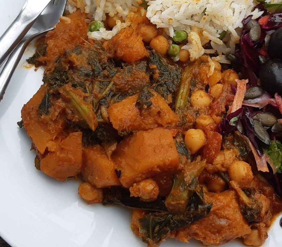 chickpea butternut kale curry