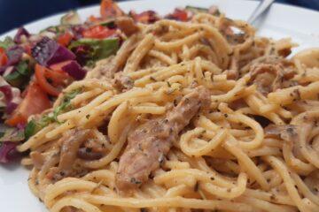 Veganised spaghetti carbonara