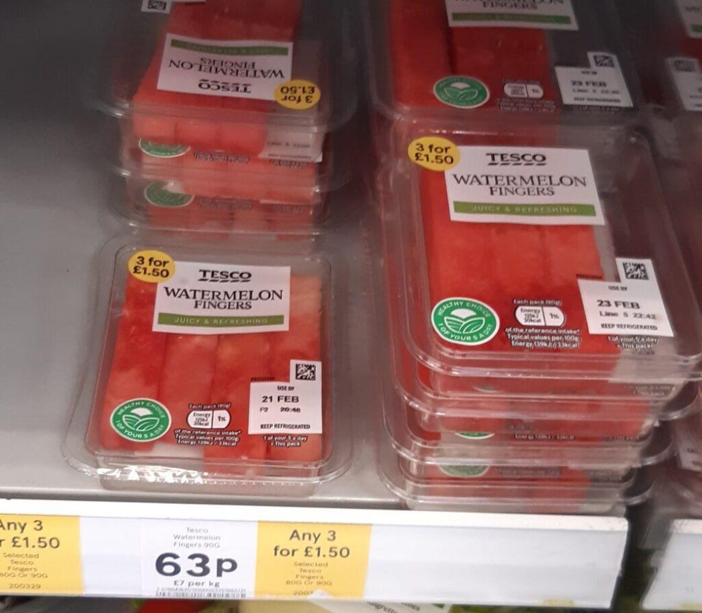 prepackaged watermelon fingers