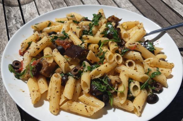vegan eggplant olive rocket pasta recipe