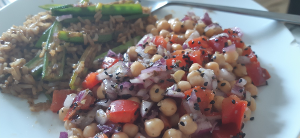 chickpea salad and okra stir fry