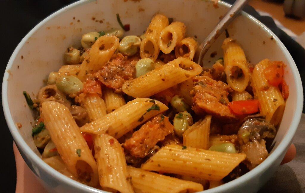 vegan chorizo broad bean pasta