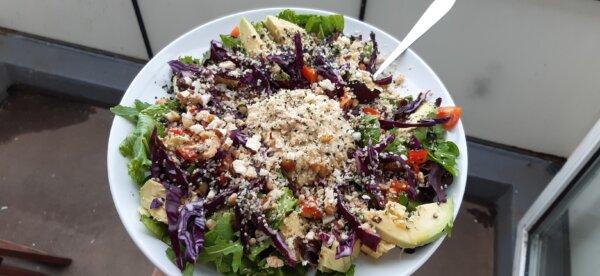 loaded vegan hummus salad