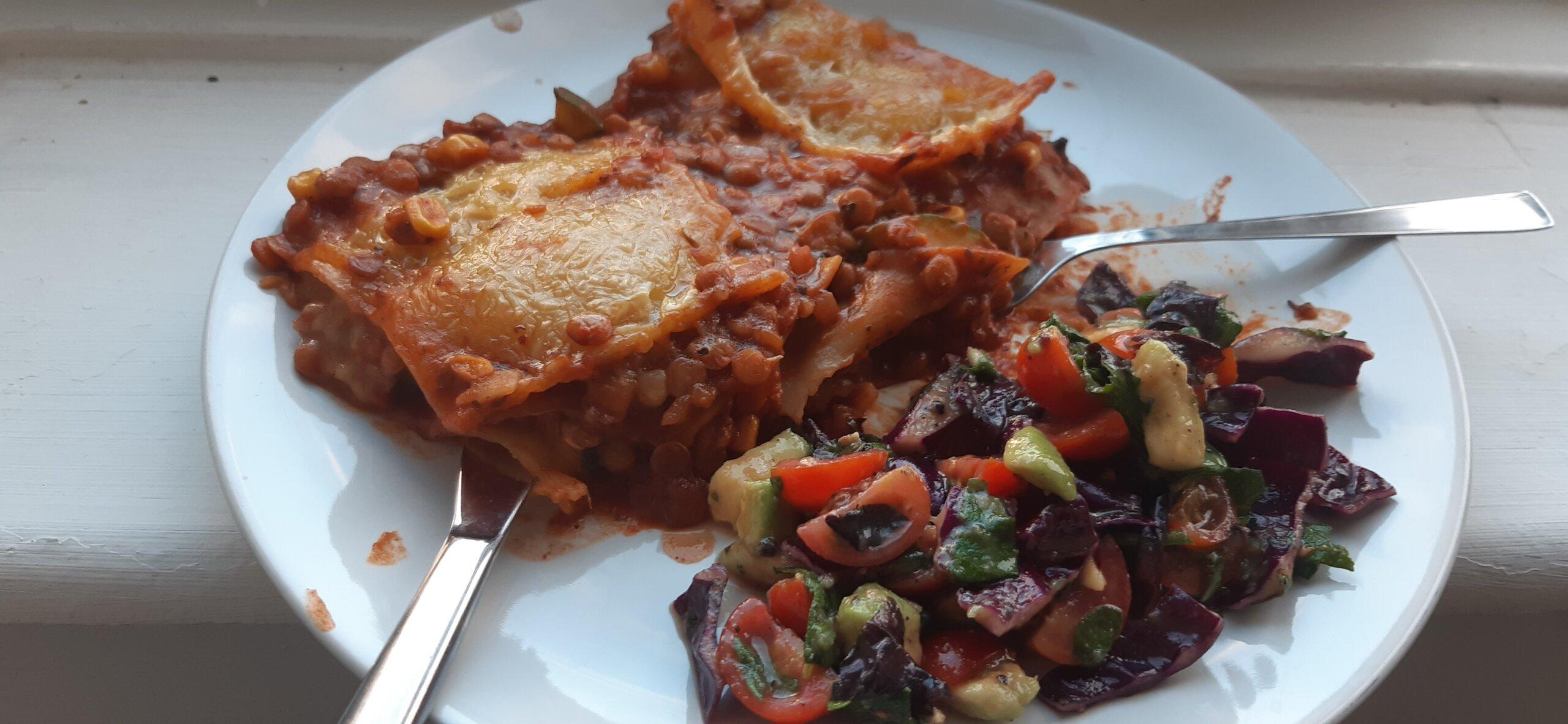 veganised brown lentil gf lasagne