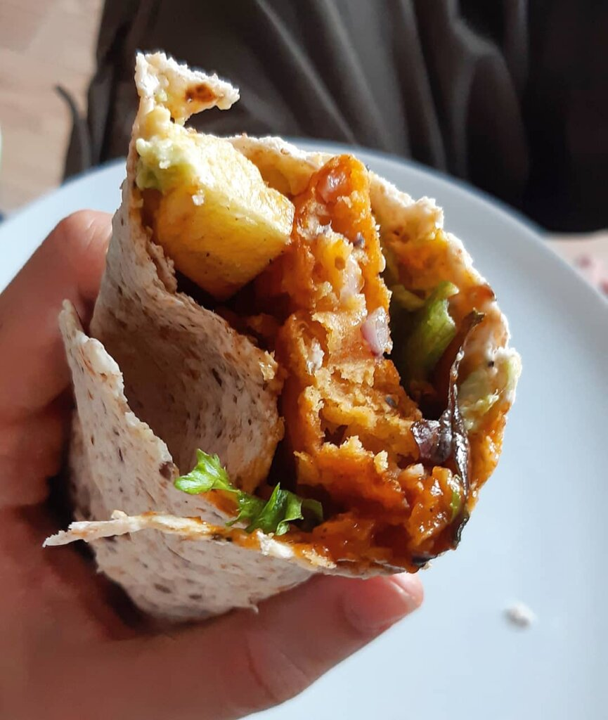 rolled bitten curry wrap