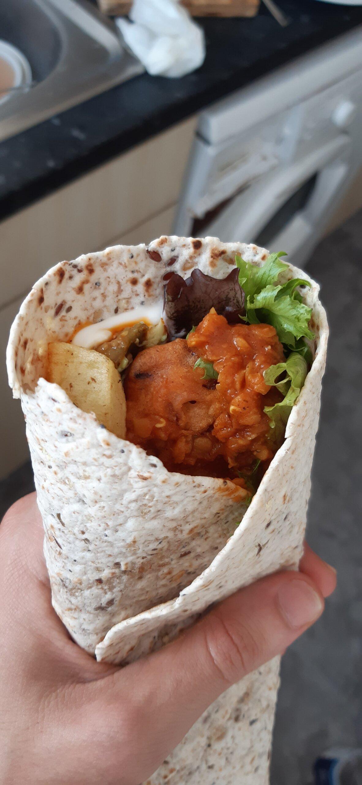 vegan curry wrap prepped