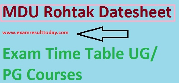 MDU Rohtak Exam Datesheet
