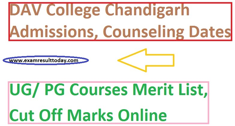 DAV College Chandigarh Admission 2020 Merit List