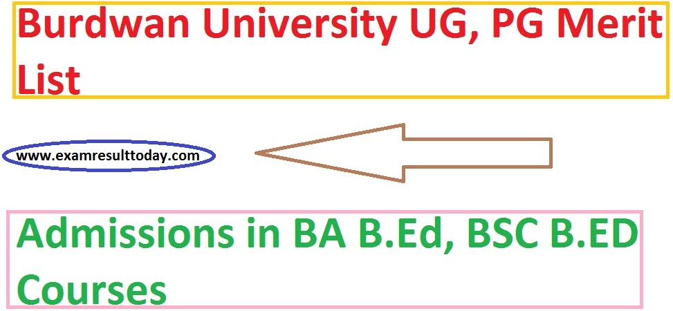 Burdwan University UG, PG Merit List Admissions Session 2019-20