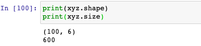 shape and size in pandas